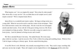 Print <i>James Howe</i> reading comprehension.