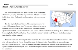 Print <i>Road Trip: Arizona Style!</i> reading comprehension.