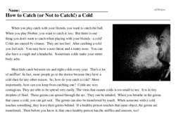 Print <i>How to Catch (or Not to Catch!) a Cold</i> reading comprehension.