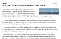 Print <i>Pikes Peak: The Most Visited Mountain in North America</i> reading comprehension.