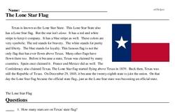 Print <i>The Lone Star Flag</i> reading comprehension.