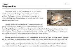 Print <i>Kangaroo Rats</i> reading comprehension.