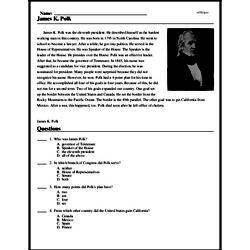 Print <i>James K. Polk</i> reading comprehension.