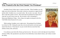 Print <i>Who Wanted to Be the First Female Vice President?</i> reading comprehension.