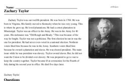 Print <i>Zachary Taylor</i> reading comprehension.