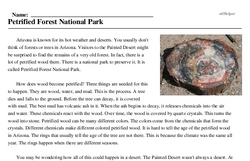 Print <i>Petrified Forest National Park</i> reading comprehension.