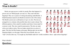 Print <i>What Is Braille?</i> reading comprehension.
