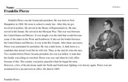 Print <i>Franklin Pierce</i> reading comprehension.