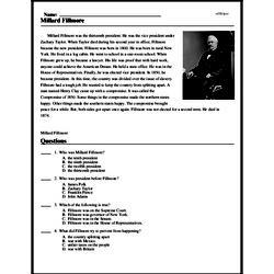 Print <i>Millard Fillmore</i> reading comprehension.