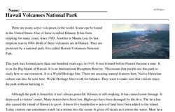 Print <i>Hawaii Volcanoes National Park</i> reading comprehension.