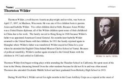 Print <i>Thornton Wilder</i> reading comprehension.