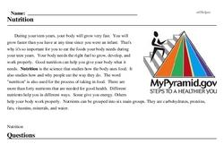 Print <i>Nutrition</i> reading comprehension.