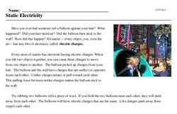 Print <i>Static Electricity</i> reading comprehension.