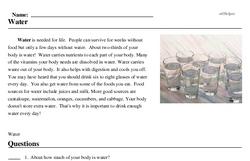 Print <i>Water</i> reading comprehension.