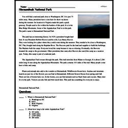 Print <i>Shenandoah National Park</i> reading comprehension.