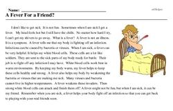 Print <i>A Fever For a Friend?</i> reading comprehension.