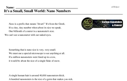 Print <i>It's a Small, Small World: Nano Numbers</i> reading comprehension.