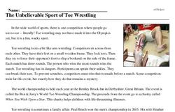 Print <i>The Unbelievable Sport of Toe Wrestling</i> reading comprehension.