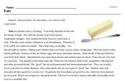 Print <i>Fats</i> reading comprehension.