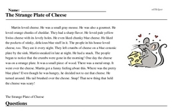 Print <i>The Strange Plate of Cheese</i> reading comprehension.