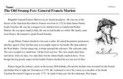 Print <i>The Old Swamp Fox: General Francis Marion</i> reading comprehension.