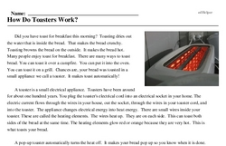 Print <i>How Do Toasters Work?</i> reading comprehension.