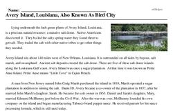 Print <i>Avery Island, Louisiana, Also Known As Bird City</i> reading comprehension.