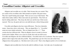 Print <i>Crocodilian Cousins: Alligators and Crocodiles</i> reading comprehension.