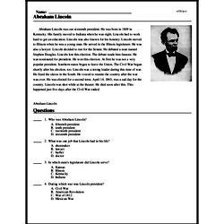 Print <i>Abraham Lincoln</i> reading comprehension.