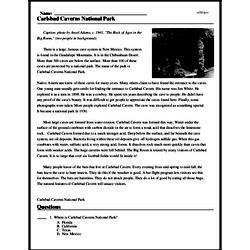 Print <i>Carlsbad Caverns National Park</i> reading comprehension.