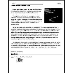 Print <i>Grand Teton National Park</i> reading comprehension.