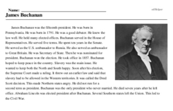 Print <i>James Buchanan</i> reading comprehension.