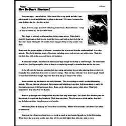 Print <i>How Do Bears Hibernate?</i> reading comprehension.