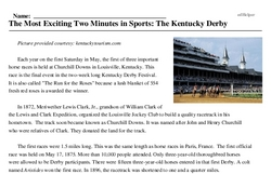 Print <i>The Most Exciting Two Minutes in Sports: The Kentucky Derby</i> reading comprehension.