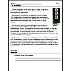 Print <i>The Heat Meter</i> reading comprehension.