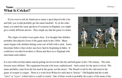 Print <i>What Is Cricket?</i> reading comprehension.