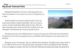 Print <i>Big Bend National Park</i> reading comprehension.
