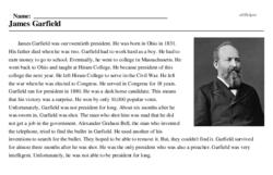 Print <i>James Garfield</i> reading comprehension.