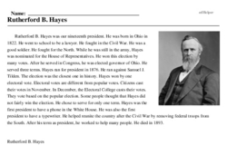 Print <i>Rutherford B. Hayes</i> reading comprehension.