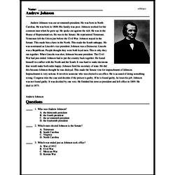 Print <i>Andrew Johnson</i> reading comprehension.