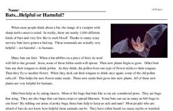 Print <i>Bats...Helpful or Harmful?</i> reading comprehension.
