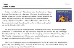 Print <i>Judith Viorst</i> reading comprehension.