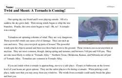 Print <i>Twist and Shout: A Tornado is Coming!</i> reading comprehension.