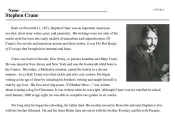 Print <i>Stephen Crane</i> reading comprehension.