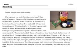 Print <i>Recycling</i> reading comprehension.