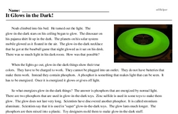 Print <i>It Glows in the Dark!</i> reading comprehension.