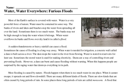Print <i>Water, Water Everywhere: Furious Floods</i> reading comprehension.