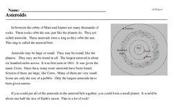 Print <i>Asteroids</i> reading comprehension.