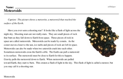 Print <i>Meteoroids</i> reading comprehension.