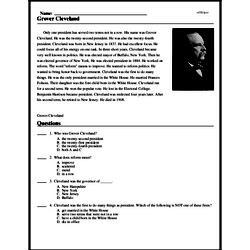 Print <i>Grover Cleveland</i> reading comprehension.